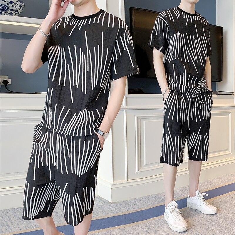 Loldeal Striped Suit Men's Summer Short-sleeved T-shirt + Shorts Round Print Decoration Set Men's O-neck