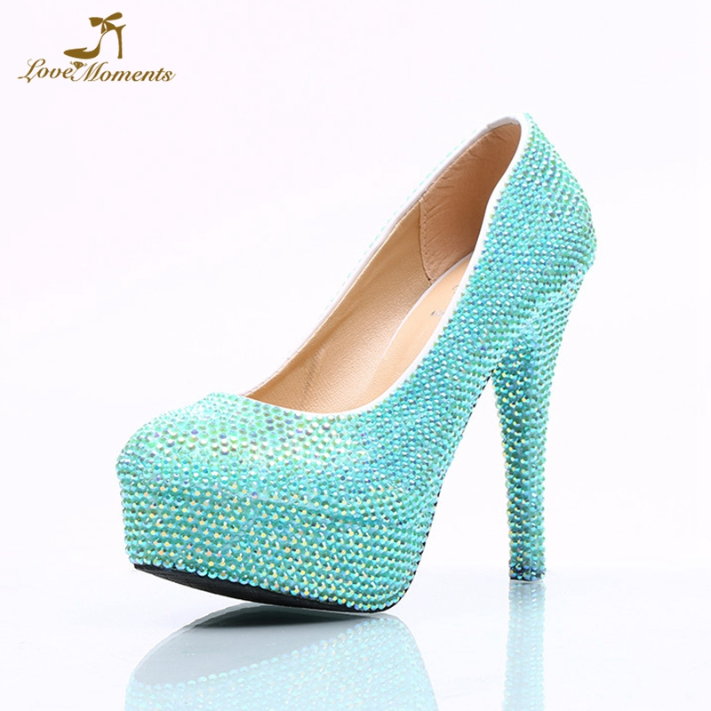 Luxurious Sky Blue Rhinestone Wedding Shoes Blue AB Crystal Color Cinderella Party Prom High Heel Shoes Plus Size 41 42 43 44 45
