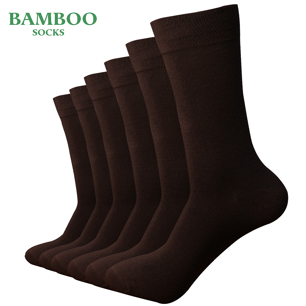Match-Up  Men Bamboo Coffee Socks Breathable Anti-Bacterial Man Business Dress Socks (6 Pairs/Lot)