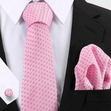 Vangise Pink Tie Sets New Design For Men Plaid & Dot Paisley Handkerchief Cufflinks Business Wedding Party Neck Ties