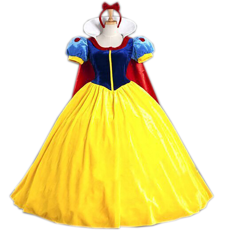 Snow White Princess Adult Costume For Women Halloween Party Carnival Cosplay Costumes Girls Dress + Headwear Feminina Long Dress
