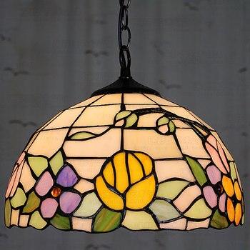 12 Inch Flesh Country Flowers Tiffany pendant light  Stained Glass Lamp for Bedroom E27 110-240V