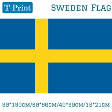Free shipping 90*150cm/60*90cm/40*60cm/15*21cm Sweden National Flag 3x5ft Hanging