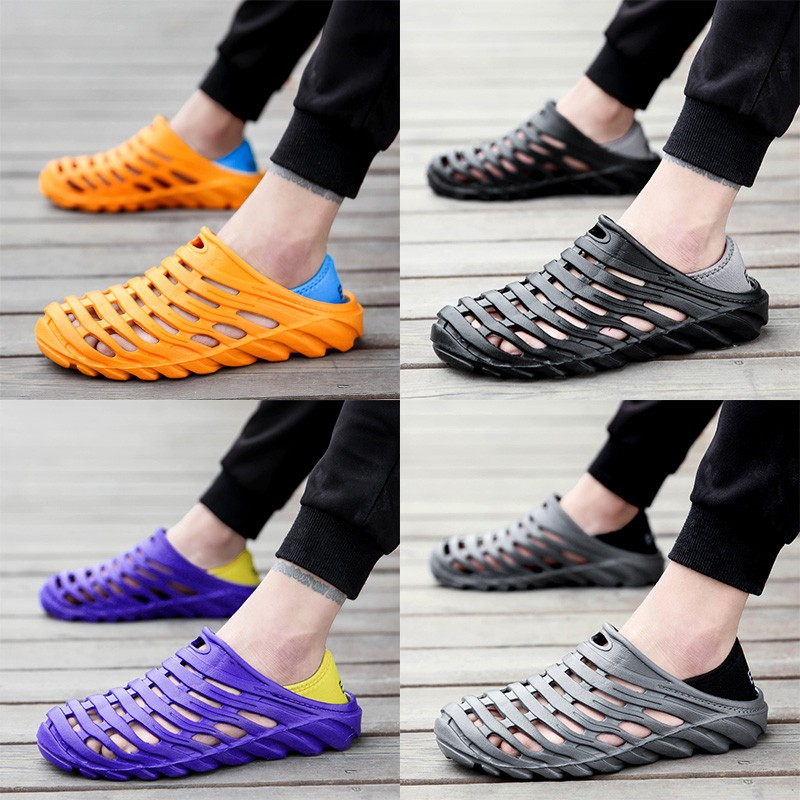 Men's Waterproof Beach Sandals Elastic Heel Leisure Hollow Outdoor Casual Shoes Swimming Slippers Sports Man Sneakers 01