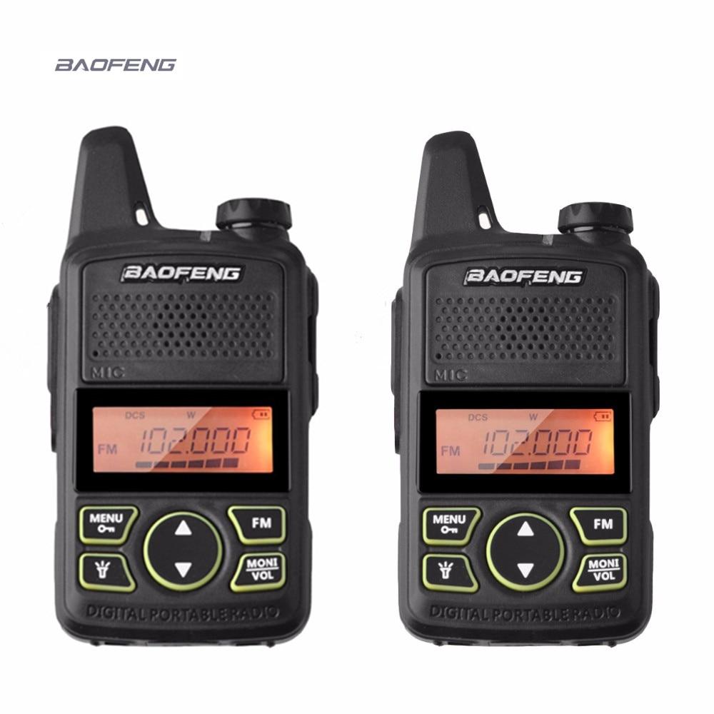 2 pcs baofeng BF-T1 mini talkie walkie UHF 400-470 mhz ham radio station ptt poche FM Portable pofung bf t1 deux way radio