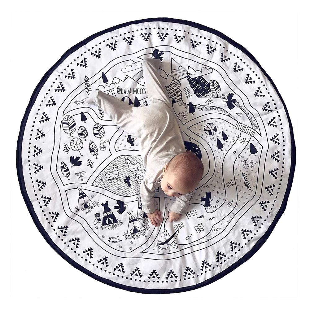 135CM Kids Play Game Mats Round Carpet Rugs Cotton Play Mat Newborn Infant Crawling Blanket Floor Carpet Baby Room Decor 3 in 1 newborn infant baby game bed baby toddler cribs crawling activity gym mat floor blanket kids toys carpet bedding soft