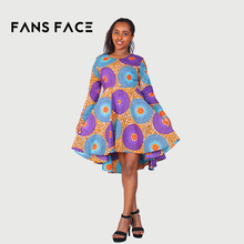 FANS FACE African Tradtional Dresses For Women Summer Ladies Long Sleeve Elegant Round Printing Fashion 2018 Wedding Dresses