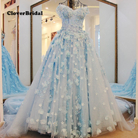 2017 Spring Summer Off The Shoulder Lace Flowers Light Blue Wedding Gown Court Train Suit For