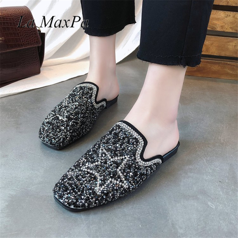 La MaxPa Women Slippers Slip On Slides Brand Crystal Star Sandal Diamond Slipper Beach F ...