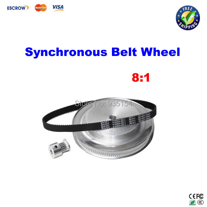 ФОТО CNC Router parts Rotary axis synchronous belt wheel, 3M synchronous belt deceleration suite(8:1)