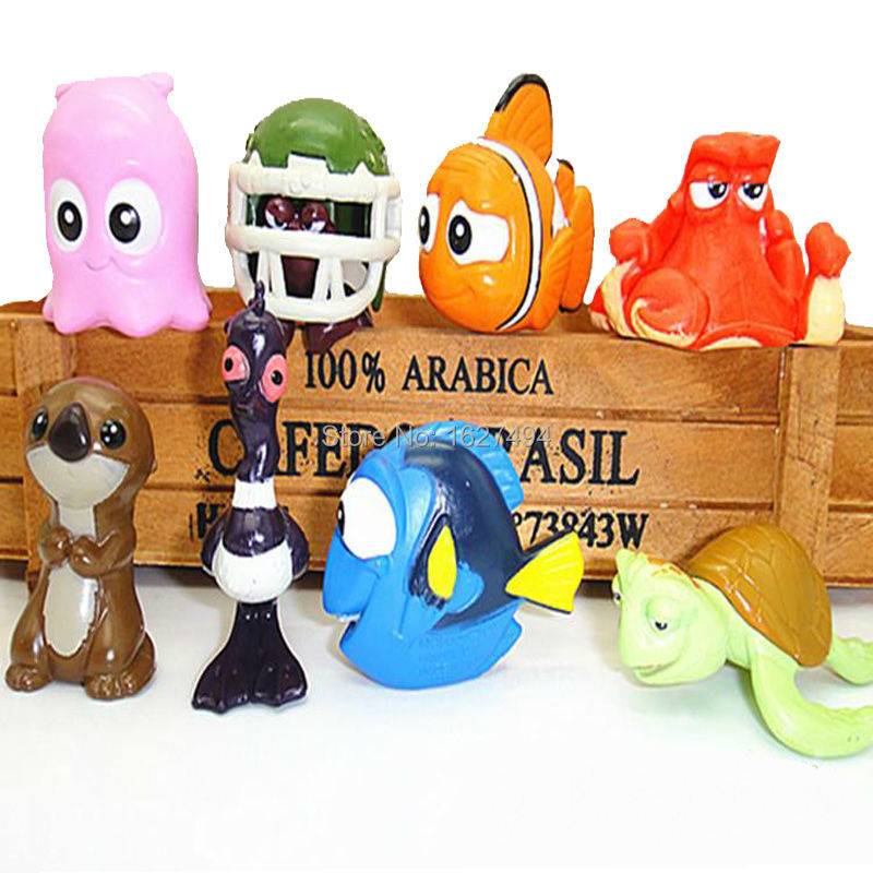 8pcs/set 2-5cm <font><b>Finding</b></font> Dory <font><b>Nemo</b></font> Clownfish Hank Miniatures PVC Action Figure <font><b>Figurines</b></font> Collectible Model Dolls Kids Toys Gift