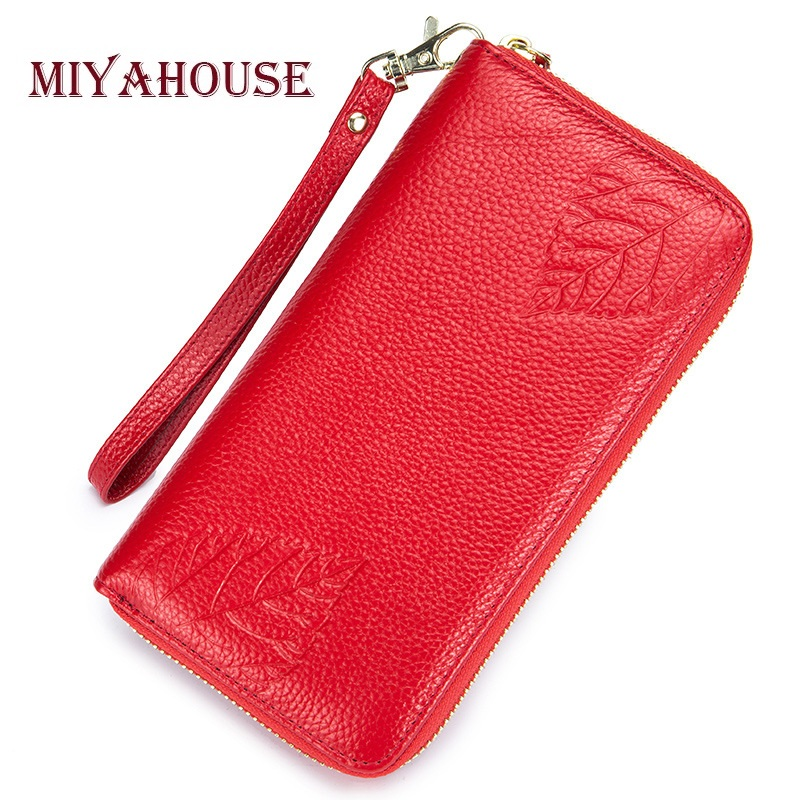 купить Miyahouse Genuine Leather Female Long Wallets Embossed Leaves Clutch Purses Women Card Holder Wallet Luxury Leather Phone Purse по цене 932.25 рублей