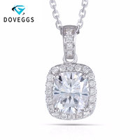 DovEggs 18K White Gold 750 6X7MM 1.5 Carat F Color Moissanite Cushion Cutting Halo Pendant Necklace for Women Free Shipping