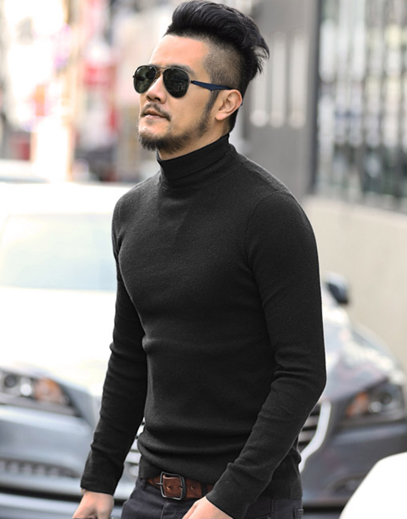 Mens Black Wool Turtleneck Sweater Slim Fit Solid Men Knit ...