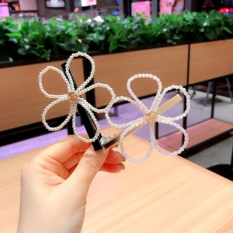Korea Big Flower Diamond Pearl Hairpins Hair Accessories Hair Clips For Girls Crystal Hairgrips Bows Barrette in Women 39 s Hair Accessories from Apparel Accessories