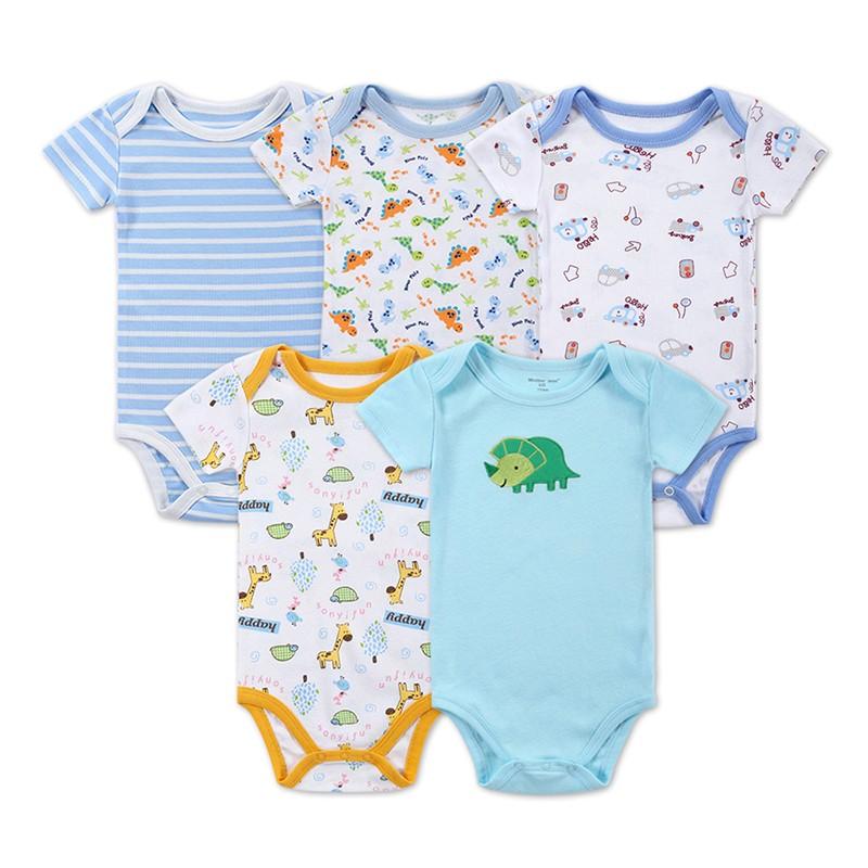 DH16502 Newborn Baby Clothes Animal Print Short Sleeve Cotton Baby Boy Romper Girl Ruffle Romper roupas de bebe infantil Costumes