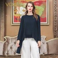 VOA Harajuku тяжелый шелк футболка с длинным рукавом Для женщин топы Повседневный пуловер свободная футболка Темно синие элегантные роскошные д