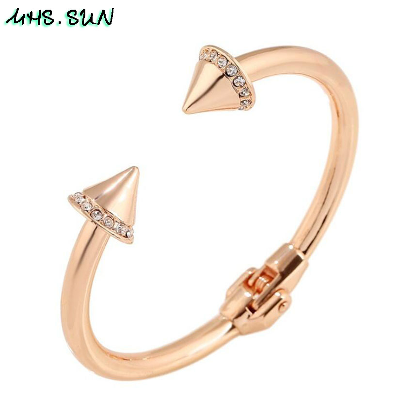 4,CB004,$11.2,1Pcslot Fashion Women Open Bangle Rose GoldSilver Color Personality Crystal Bangle Exaggerated Jewelry For Female