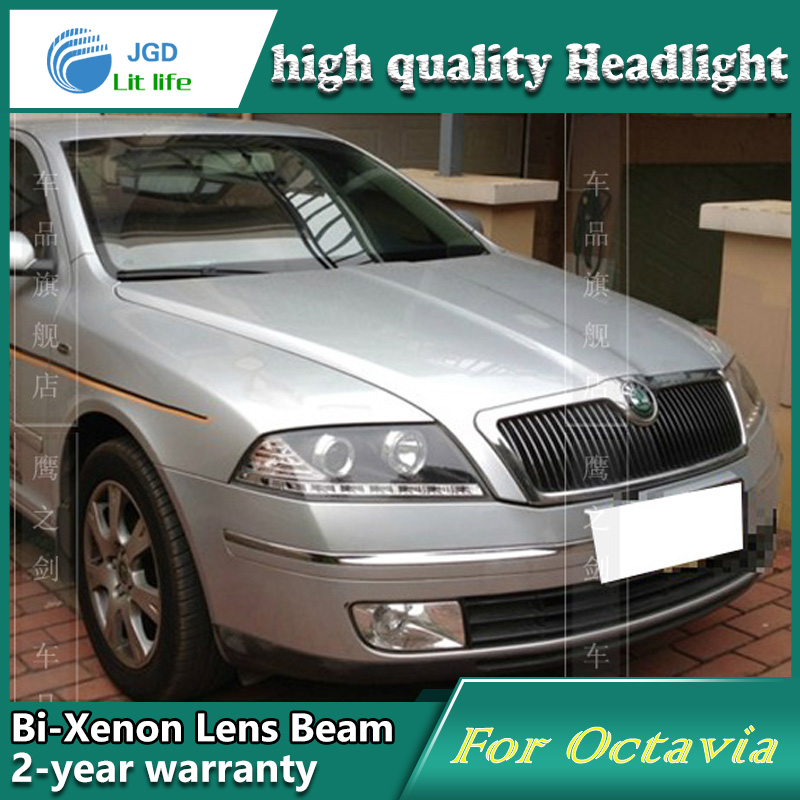 Car Styling Head Lamp case for Skoda Octavia 2005-2007 Headlights LED Headlight DRL Lens Double Beam Bi-Xenon HID Accessories high grade 2017 summer new baby girls party dress wedding clothes long tail 1 6 yrs girls flower dresses kids clothes retail
