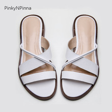 women Bohemian flat slippers genuine leather cowhide cross ted toe strap white flip flops plus size 44 summer beach trendy shoes