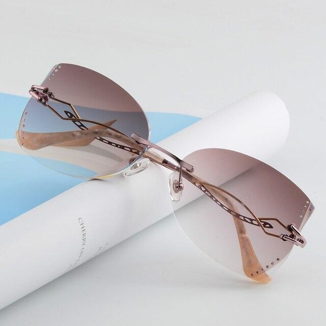 Без оправы, очки, алмазный обрезки очки мода женщина красивая темперамент очки по рецепту близорукость дальнозоркость 10