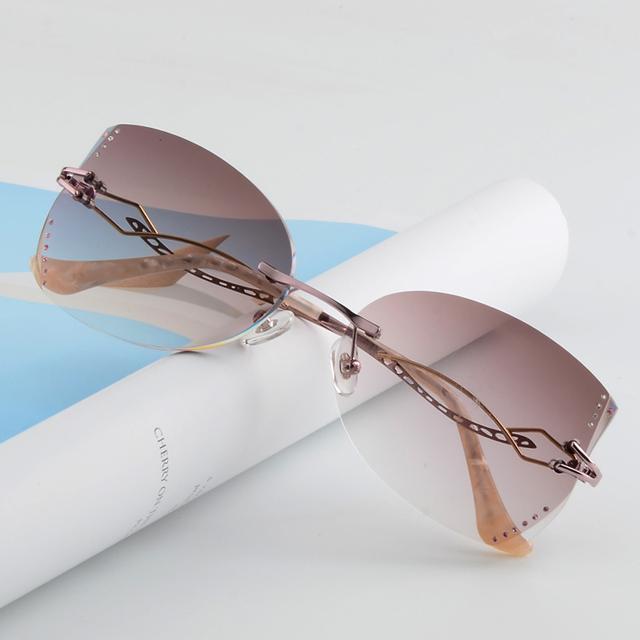 Óculos sem aro, diamante corte óculos moda mulher bonita temperamento prescrição óculos de miopia hipermetropia 10