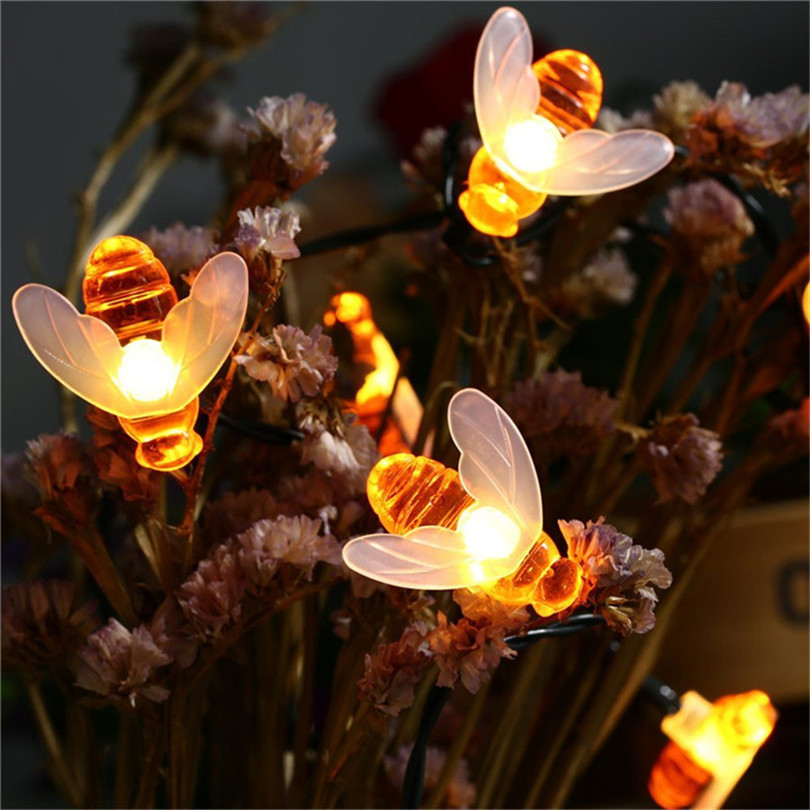 Trecaan 20leds/30leds Honey Bee Shape Solar Led String Fairy Lights Outdoor Garden Fence Summer Patio Christmas Garland Light