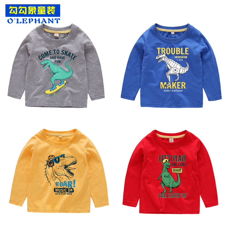 Cartoon Cool Dinosaur Print Long sleeve t-shirts boy Spring Autumn thin t shirt kids Cotton O Neck Tops Casual clothes for boys