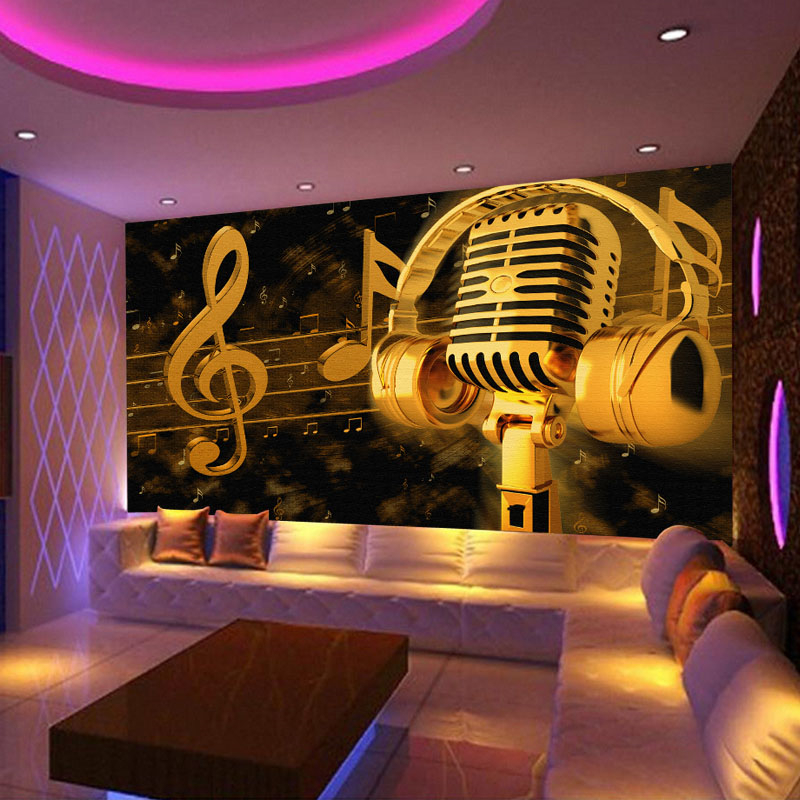beibehang ktv bar mural reflective wall covering wall covering wallpaper waterproof custom notes microphone Large 3d background