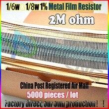 НОВЫЙ 5000 шт. 2 М ом 1/6 Вт & 1/8 Вт 2MR Металл Резистор 2 мом 0.25 Вт 1% ROHS