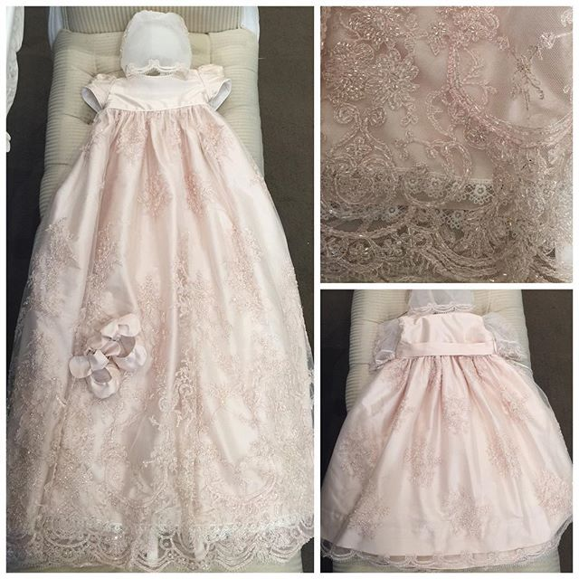 Custom  long  lace baptism dresses with bonnet  beautiful christening gowns for newborn baby girl