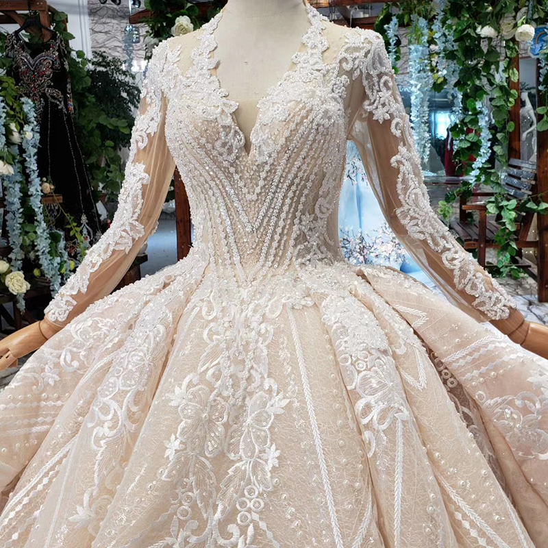 Image 4 - HTL433 long sleeves lace wedding dresses with train v neck open back puffy ruffle wedding gowns heavy handwork robe de mariee-in Wedding Dresses from Weddings & Events
