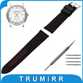 24mm Canvas + Genuine Leather Watch Band for Hamilton Watchband Replacement Strap Fabric Wrist Belt Bracelet Black Brown