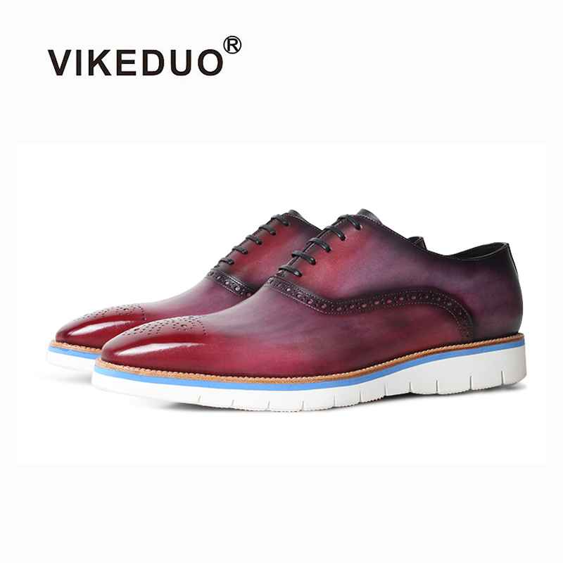 VIKEDUO 2019 Summer New Sneakers Patina Brogue Casual Mans Footwear Genuine Leather Wedding Office Oxford Dress