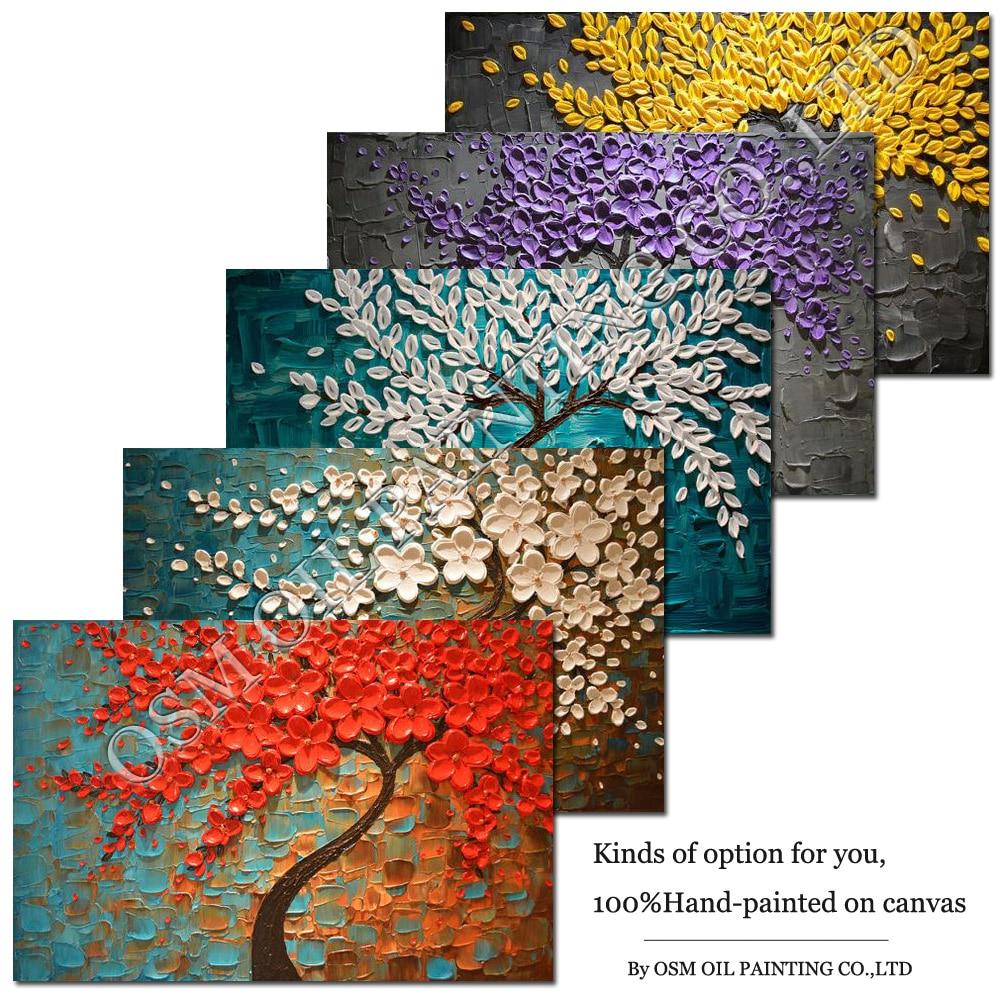 손으로 그린 고품질 프레임이없는 종류의 캔버스에 유화 추상 두꺼운 잎 유화 나이프 캔버스 그림