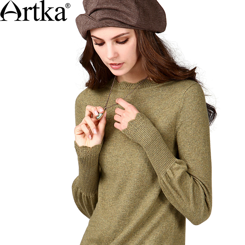 ARTKA Women S Autumn Vintage O Neck Full Sleeve Solid Rib Plain Weave Ruffles All Match