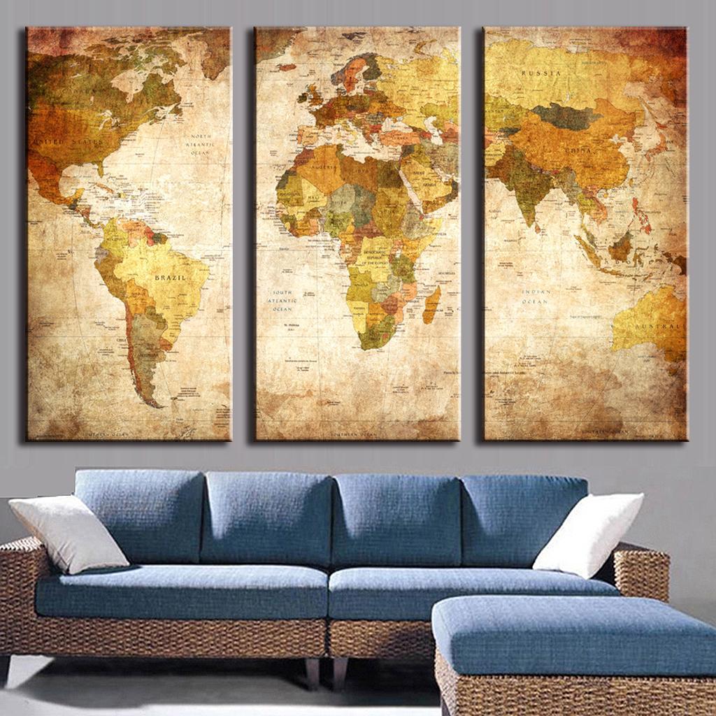 3 Pcs/Set Classic World Maps Wall Art for Living Room Retro Yellow ...