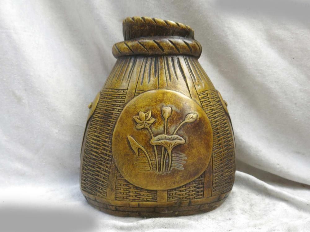 DS Fine brass vase China copper carved water lily fish basket sculpture Statue|statue|statue sculpture|statue china - title=