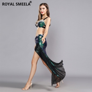 Image 2 - 2020 Womens Belly dance Bra Skirts Professional Outfit 2pcs Sequin Bling Mermaid Dance Costume Set belly dance costume 119060
