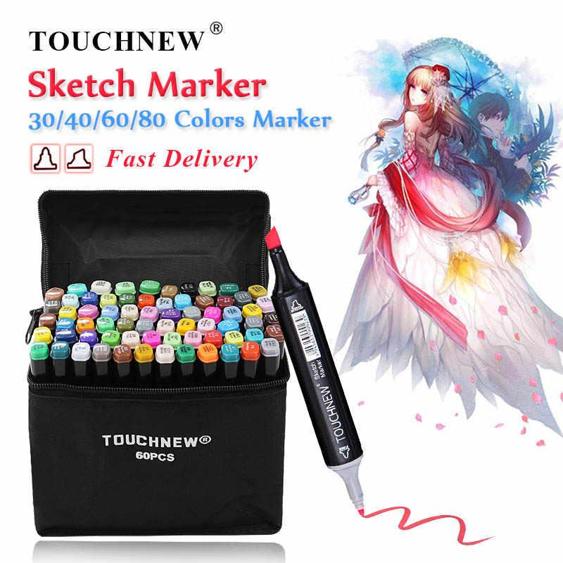 TOUCHNEW 30/40/60/80 Farbe Kunst Marker Alkohol Basierend Skizze Marker Pinsel Stift Für Zeichnung Manga kunst Liefert