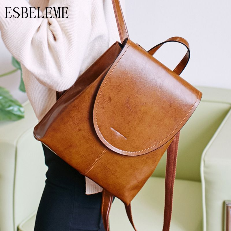 ESBELEME Genuine Leather Women Backpacks For Female Oil Wax Vintage Backpack Cow Leather Ladies Double Shoulders Bags YG230