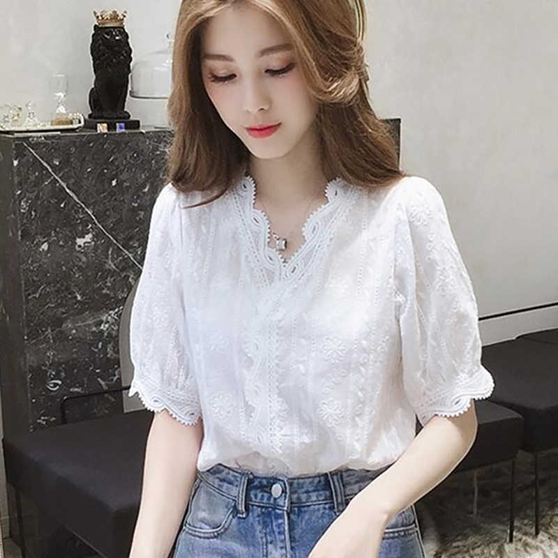 fashion 019 new Lace Hollow Out Sweet Loose White Women's V-Neck Blouse Half Sleeves Solid Blouse Shirt
