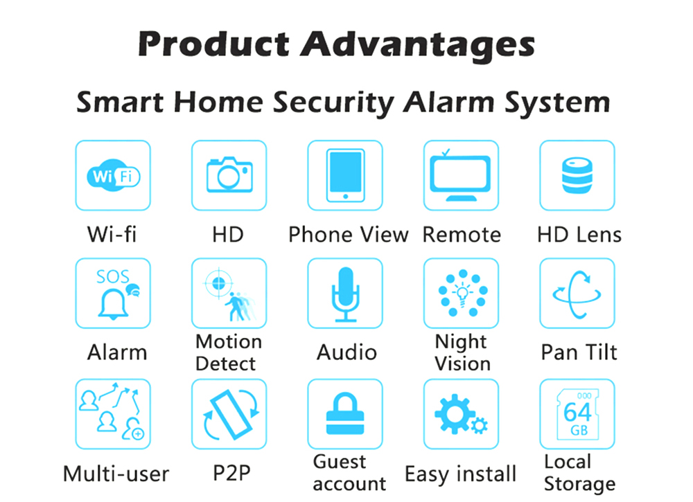 Wistino Alarm Systems Security WIFI IP Camera Security System Video Monitor Surveillance Camera Wireless Home Alarm System With Sensor Alarm Wifi kit Smart Home Camera (2)