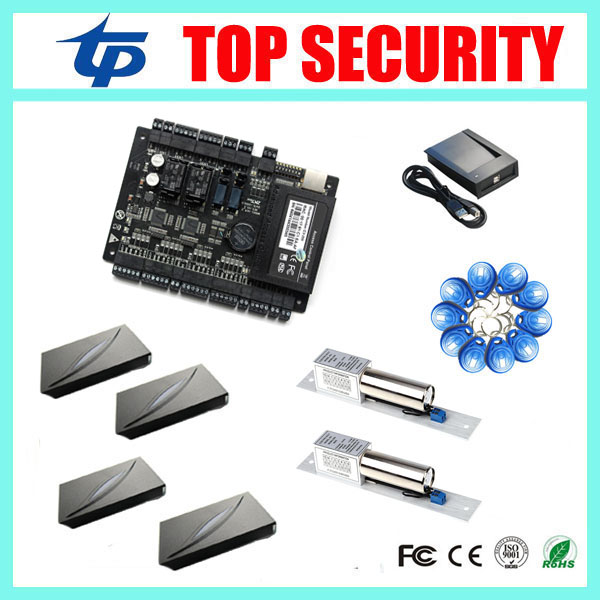 C3-200 zk door access control board smart card time attendance and access control system with 4pcs RFID card reader 2pcs lock metal rfid em card reader ip68 waterproof metal standalone door lock access control system with keypad 2000 card users capacity