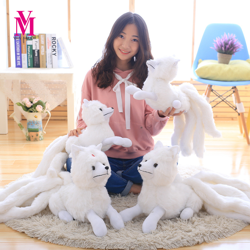 Vanmajor 56/ 63CM Simulation White Nine-Tailed Fox Plush Toy Stuffed Fox Animal High Quality Gumiho Birthday Gift Toy Home Decor image