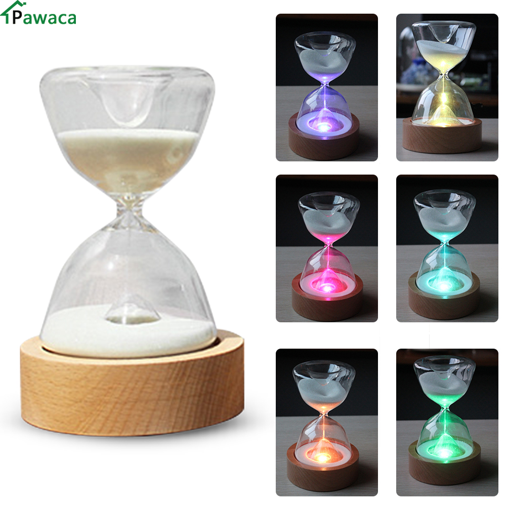 Romantic Colorful Hourglass Timer Night Lamp Bedside Sleeping Timer Desk Touchable Craft Color Changed Decoration Sandglass Gift ...