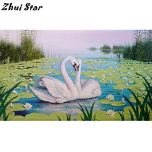 Zhui Bintang 3D DIY Diamond Lukisan Gambar Rhinestones Swan Pecinta Rhinestones Bordir Cross Stitch Kit Home Dcor FC1967(China)