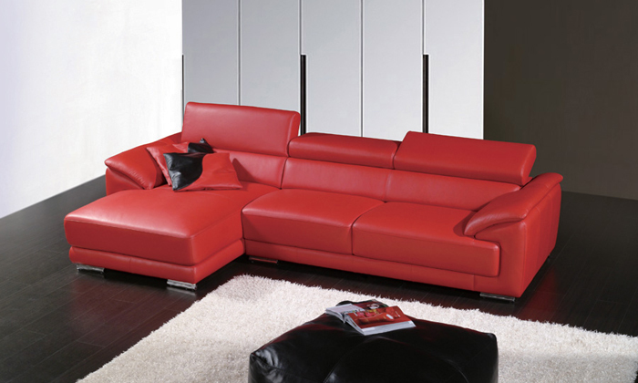 Delightful Free Shipping 2015 Modern Design Top Grain Leather Solid Wood Frame, Red  Small L Shaped Leather Corner Sofa LA096 1