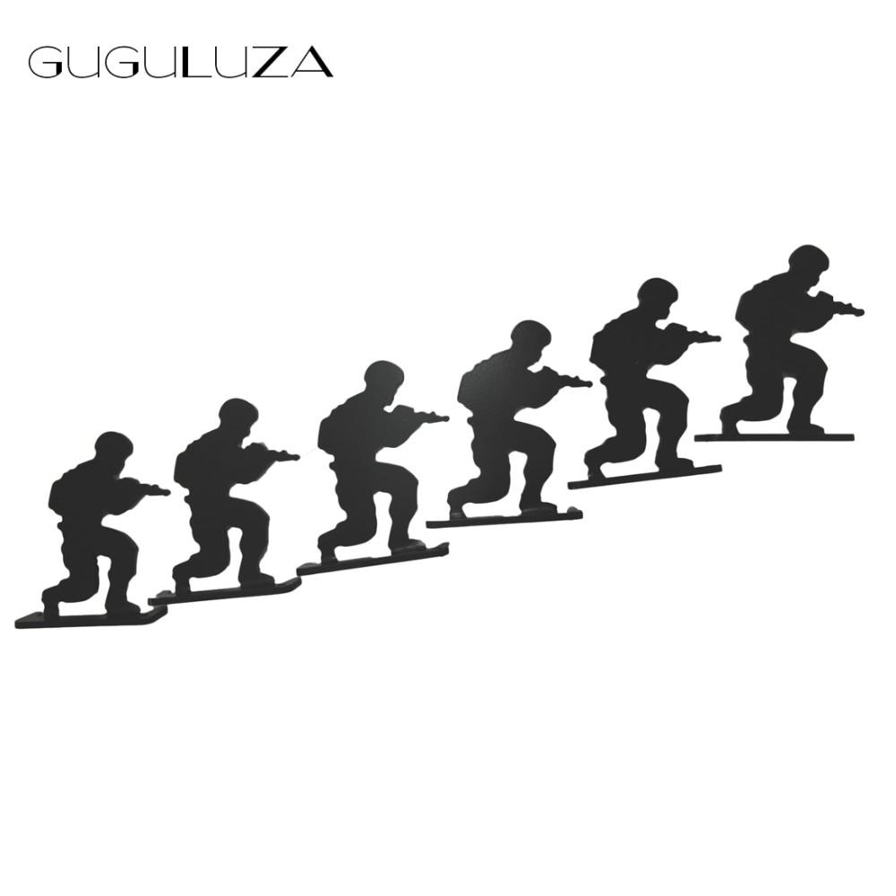 GUGULUZA 6pcs/lot Military Soldier Metal Targets Shooting Target Modle Black For Hunting Shooting Exercise Tactical Gun Target