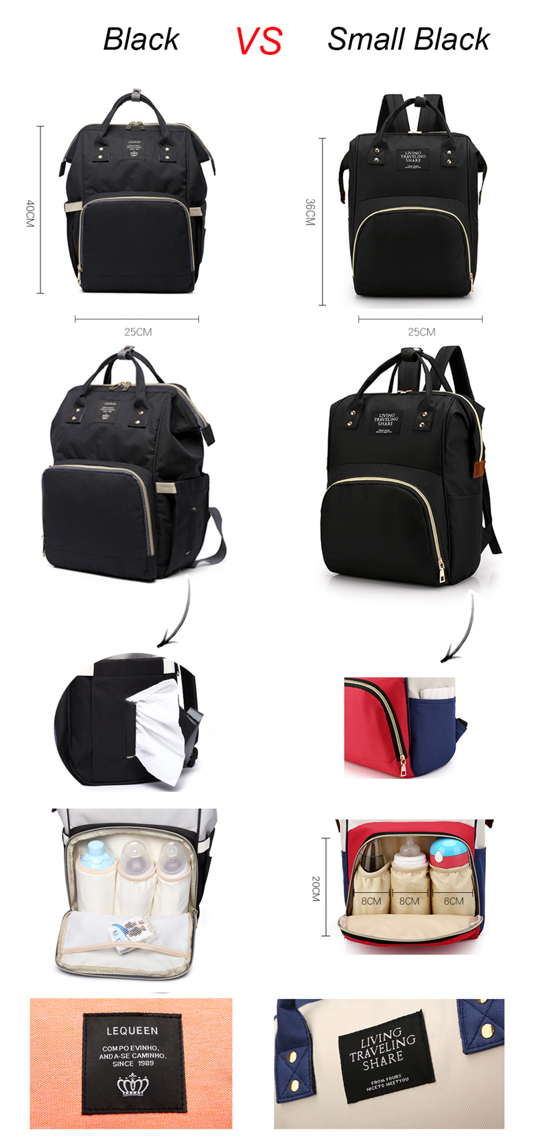Large Capacity Nappy Bag Travel Backpack Nursing Bag for Baby Care Women's Fashion Bag